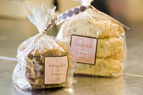 At Babycake and Confections, bagged oatmeal cookies and hazelnut biscotti are ready to ship to retailers.